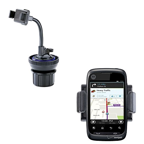 Universal Compact Vehicle Cupholder Adapter With Removable Suction Mount Cradle To Create Windshield Mount For Motorola Ciena