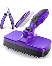 Ruff 'N Ruffus Upgraded Self-Cleaning Slicker Brush + Free Pet Nail Clippers+ Free Comb | Cat Dog Brush Grooming Gently Reduces Shedding & Tangling for All Hair Types
