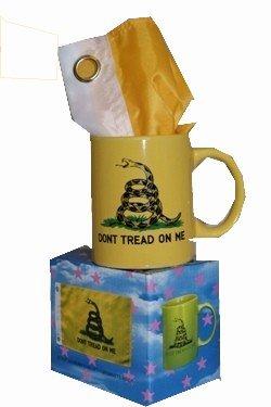 "Yellow Gadsden Coffee Mug w/ 12"" X 18"" Gadsden - Don't Tread on Me Flag"
