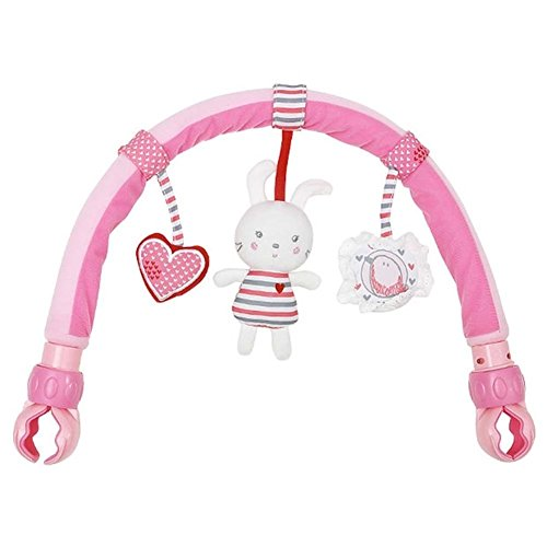 Singring Baby Pram Crib Activity Arch Plush Rabbit Toy Stroller and Travel Activity Bar with Rattle and BB Device