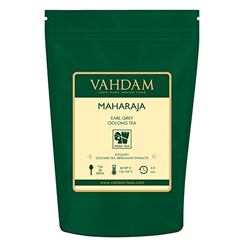VAHDAM, Maharaja Earl Grey Oolong Tea Loose Leaf (50 Cups)   100% PURE Oolong Tea Leaves   POWERFUL ANTI-OXIDANTS   Loose Leaf Earl Grey Tea With Natural Bergamot Oil   Brew as Hot or Iced Tea  3.53oz