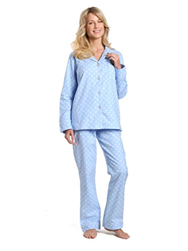 Nick Nora Sleepwear - Noble Mount Women's Cotton Flannel Pajama Set - Dots Diva Blue-White - X-Large