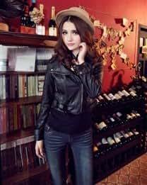 Fashion Solid Slim Lapel Long Sleeve Short PU Womens Jackets