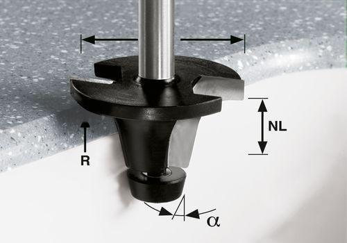 Festool 492671 - Fresa para encimeras HW, vástago 12 m HW R6.35/25/6° ss S12 vástago 12 m HW R6.35/25/6° ss S12