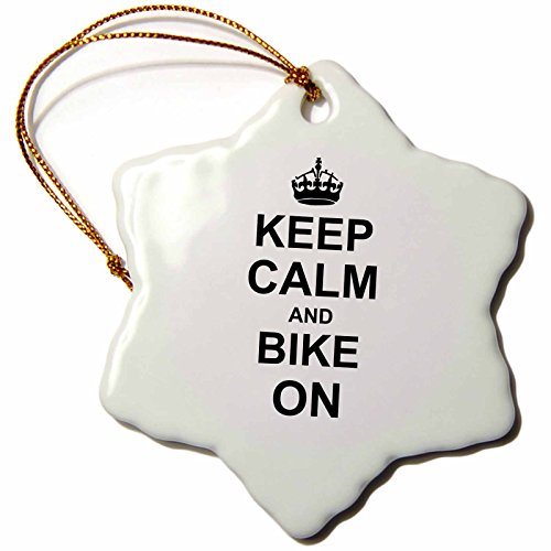 3dRose orn_157647_1 Keep Calm and Bike on Black Motivational Carry on Biking Cycling Biker Cycler Porcelain Snowflake Ornament, 3-Inch (Cycling Christmas Ornament compare prices)