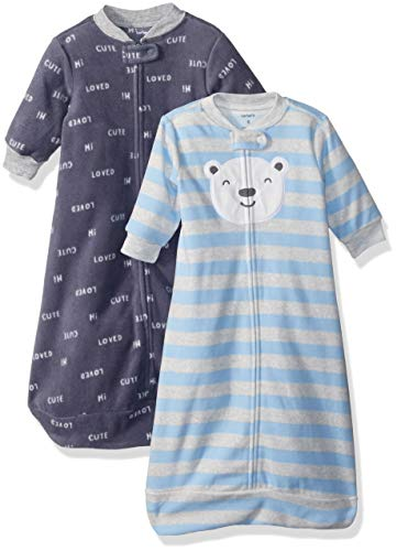 Carter's Baby Boys 2-Pack Microfleece Sleepbag, Blue Bear Script, Medium