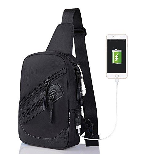 Bolsos de hombro STRIR Sling Schulter-Umhängetasche Tasche für Herren Frauen leichter Wandern Reisen Rucksack Tagesrucksack mit USB Lade-Schnittstelle Negro