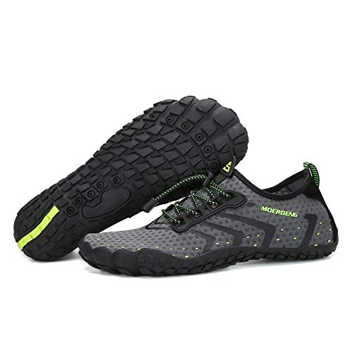 MOERDENG Men Women Water Shoes Quick Dry Barefoot Aqua Socks Swim Shoes for Pool Beach Walking Running (Dark grey) 12 M US Women / 10 M US Men by MOERDENG (Image #6)