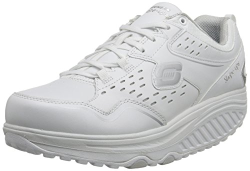 Skechers Women's Shape Ups 2.0 Perfect Comfort Fashion Sneaker, White/Silver, 8 M US