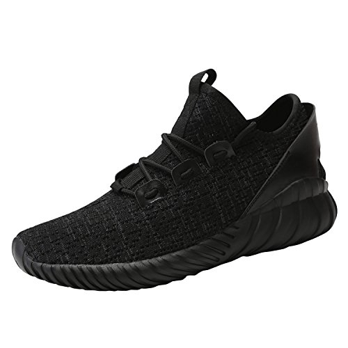 Image of Hetohec Sport Baseball Shoes Knitted Fashion Outdoor Sneakers Lightweight Gym Athletic Shoe Men Trail Workout(1266FullBlack44)