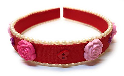 Red Headband with Pearl Beading Roses and Mini Button Hearts