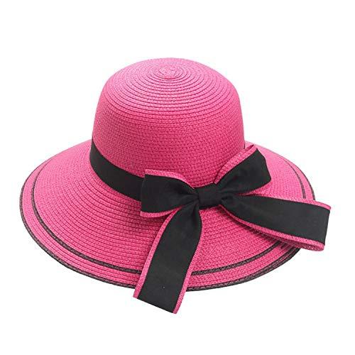 2019 Hat Floppy Foldable Women Bow Straw Beach Sun Summer Wide Brim Elegant Design,A,US ()