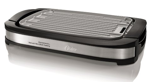 Oster DuraCeramic Reversible Grill and Griddle CKSTGR3007-ECO, Black