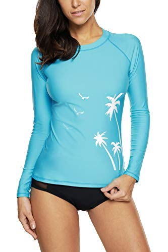 CharmLeaks Women Swimming Shirt Sun Protection Rashguard Swimwear UPF 50+ Wetsuit Aqua M