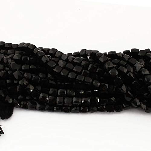 GemAbyss Beads Gemstone 2 Strand Natural Black Onyx Faceted Cube Beads Briolettes - Box Shape Beads 7mm 8 Inch Code-MVG-15172