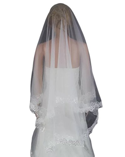 Love Millie One Tier Embroidered Edge Wedding Veil Short Bridal Veil (Ivory Sequin) by Love Millie
