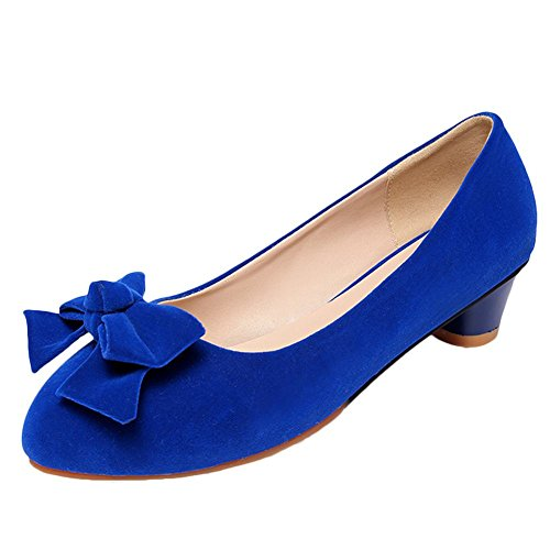 Carolbar Women's Solid Color Lovely Bow Mid Heel Nubuck Court Shoes Blue Bhmo9