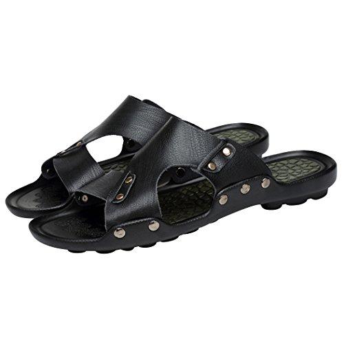 Zon Lorence Zomer Herenmode Open Teen Lederen Sandalen Schoenen Strand Platte Casual Slippers Zwart