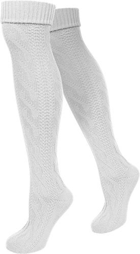 Damen Trachtensocken lange Kniestrümpfe / Oktoberfest Overknees mit Zopfmuster in verschiedenen Farben von normani® Farbe Weiß Größe 35/38
