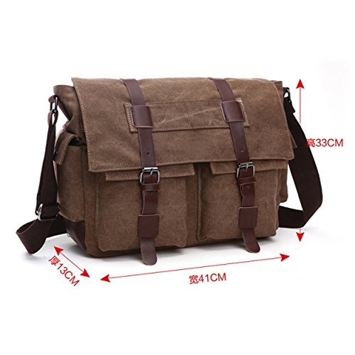 Brown Work Bag Backpack Satchel 8168 Unisex Tote Queenie for Shoulder Bag Vintage Canvas Gym Sling Rucksack Travel Cross Body wBqFIUanIx
