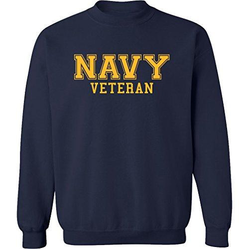 Navy Veteran Gold Logo Military Style PT Crewneck Sweatshirt In Navy - X-Large