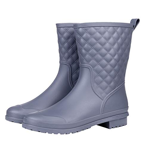 Asgard Women's Mid Calf Rain Boots Waterproof Rubber Booties Garden Shoes GY39 ()