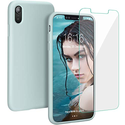 (Case for iPhone XR, Muntinfe Liquid Silicone Full Protective Shockproof Cover Case with Free Screen Protector Gel Rubber Anti-Scratch Case for Apple iPhone XR 6.1
