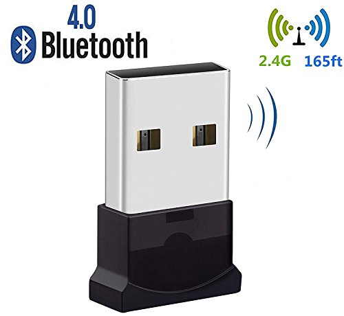 Bluetooth USB Adapter, Bluetooth 4.0 USB Dongle, Low Energy for PC, Wireless Dongle, for Stereo Music, Keyboard, Mouse, Support Windows 10 8.1 8 7 XP vista by JFen