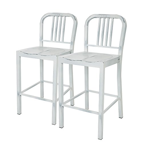 Glitzhome Vintage Metal Back Counter Bar Stools White, Set Of Two (Saddle Reclining Sectional)