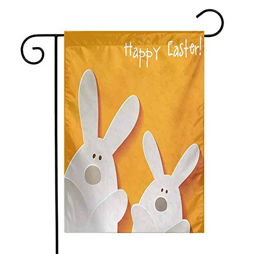 seedine Decorative Garden Flag Outdoor Yard Easter Happy Easter Bunnies on a Warm Toned Background Abstract Animal Design 12.5 x 18 Inch Orange Coconut Brown]()