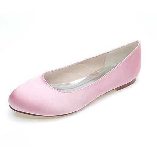 TC hiver avec L pink Large mariage de Color printemps Satin chaussures été Multi automne confortable Femmes Yards appartement 4BBqPd