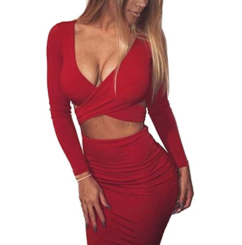 (Memorose Womens Sexy Long Sleeve Cut-Out Bandage Bodycon Clubwear Midi Dress Red M)