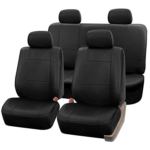 FH-PU002-1115 Classic Exquisite Leather Car Seat Covers, Airbag compatible and Split Bench, Solid Black color - Covers Seat Classic