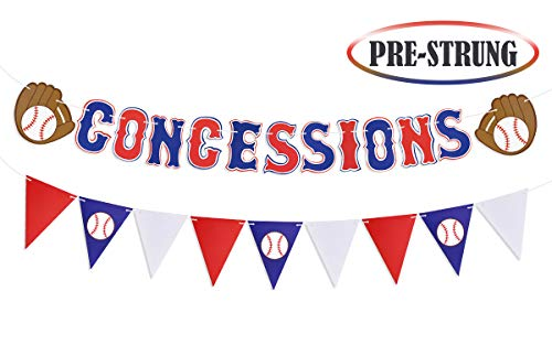 Baseball Party Supplies Concessions Banner - Sports/Baseball Themed First Birthday Party Decorations Favors (Style 1)