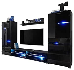 meble furniture rugs modern entertainment center wall unit with led lights 65 tv. Black Bedroom Furniture Sets. Home Design Ideas