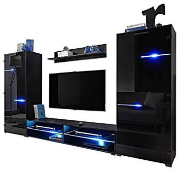 MEBLE FURNITURE RUGS Modern Entertainment Center Wall Unit with LED Lights 65 TV Stand
