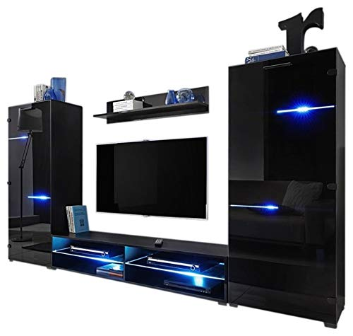 MEBLE FURNITURE & RUGS Modern Entertainment Center Wall Unit with LED Lights 65