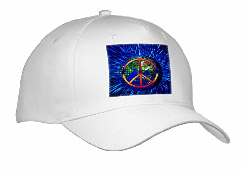 Doreen Erhardt Retro - Retro Hippie Themed Peace on Earth with Disco Ball and Tie Dye - Caps - Adult Baseball Cap (Disco Themed Clothes)