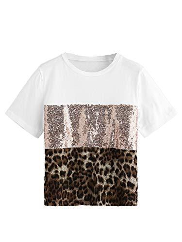 - Milumia Women Color Block Sequin Leopard Round Neck Short Sleeve Tee T-Shirt Tops White L