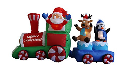 amazoncom 7 foot long christmas inflatable santa claus on train with penguin reindeer decoration home kitchen