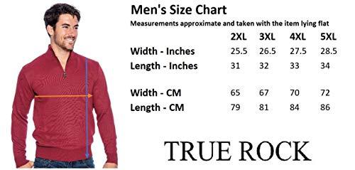 True Rock Men's Big & Tall Size Mock Neck 1/2 Zip Sweater-HeatherGray -4XL