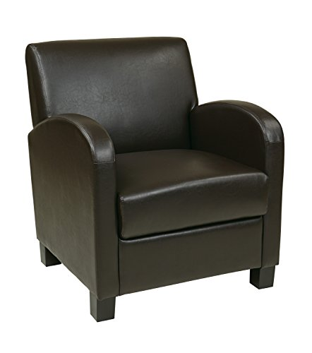 Office Star Metro Faux Leather Club Chair with Espresso Finish Legs, Espresso Eco Leather Club Chair