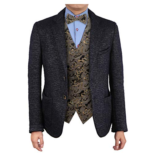 Epoint EGE2B02A-L Grey Beige Vest Paisley Microfiber Waistcoat Pre-tied Bow Tie Set Lowest Tuxedo Vests