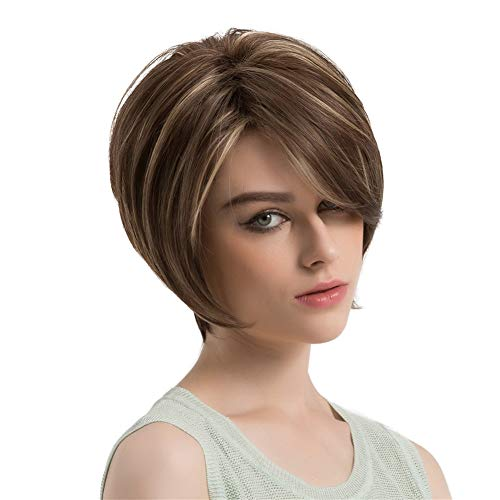 AUWIGS Blonde Bob Wigs for White Women Short Straight Synthetic Hair Wig Cosplay Costume Replacement Wigs + Free Wig Cap 10
