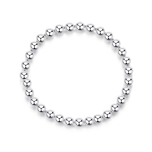 Sterling Silver Soft Ball Chain Ring Stacking Rings Rhodium Plating