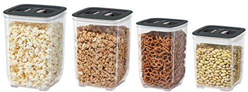 4 Piece Stack N' Store Square Canister Set (Black)
