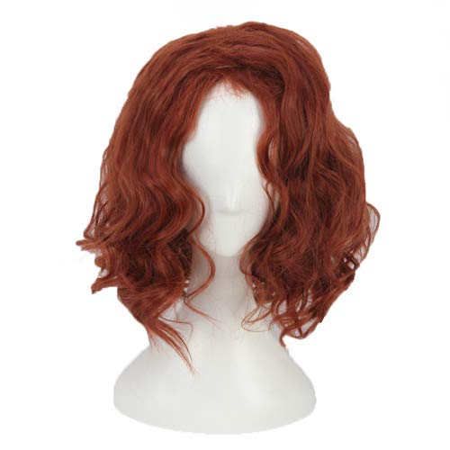 (Cosplay Wigs Short Red Brown Curly Wavy Halloween Costumes for Women Girls Synthetic)