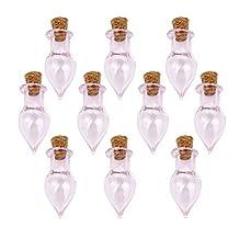Mini bottles - SODIAL(R)Mini Glass Bottles Jars with Cork Wish Note Craft Bottle Pack of 10 Drop Shape Pink