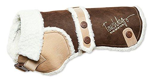 - TOUCHDOG 'Sherpa-Bark' Original Designer Fashion Pet Dog Coat Jacket, X-Small, Dark Choco Brown, Light Sand Brown