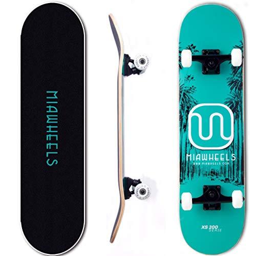 MIAWHEELS XS200 (Blue/Black) - Xtreme Sport Skateboard- Handmade -100% 7PLY Canadian Maple - Deck 31x8inch- 54x32 PU Wheels- (Honor Roll Skate)